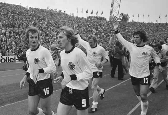The German players celebrate the World Cup triumph in 1974.