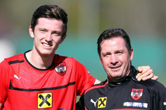 Michael Gregoritsch (left) with his father, Werner Gregoritsch.