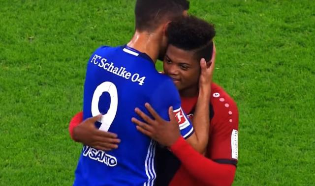 Leon Bailey (right) with Schalke 04's Franco Di Santo (left).